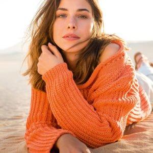 Помаранчевий светр - зразок з пряжі Cashseta